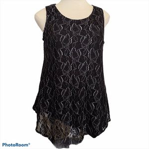 Black Rose & Silver Lace Overlay Sleeveless Top